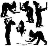 Detective Silhouettes — Stok Vektör