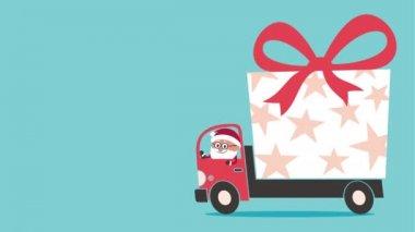 Santa föra gåva — Stockvideo