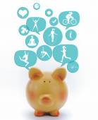 Piggy bank with fitness icons in talk bubbles isolated — Foto de Stock