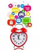 Heart alarm clock with sale icons in talk bubbles isolated — Стоковое фото