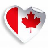 Heart sticker with flag of Canada  isolated on white — Stok fotoğraf