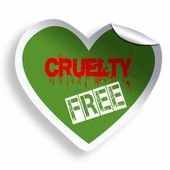 Heart green cruelty free sticker icon isolated on white — Stock Photo