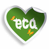 Heart green eco sticker isolated on white — Stok fotoğraf