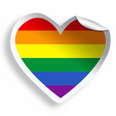 Heart sticker with colorful LGBT flag isolated on white — Stock Photo