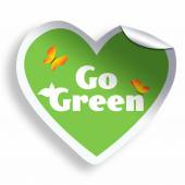 Heart go green sticker isolated on white — Stock Photo