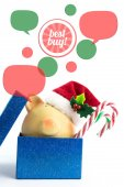 Piggy bank with speech bubbles. Christmas sale concept, isolated — Stock Photo