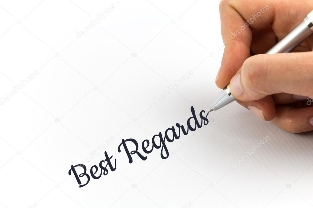 Hand Writing Best Regards On White Sheet Of Paper