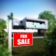 Home For Sale sign in front of modern house. — Stock Photo #62685267