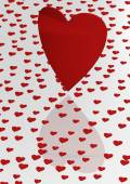 Red heart shape made of small hearts. — Stock Photo