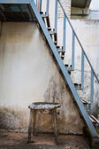 Metal fire escape old table — Stock Photo