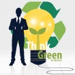 Think green, Eco concept. Light bulb with Tree and Recycle symbo — Stock Vector #53948207