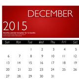 Simple 2015 calendar, December. Vector illustration. — Stock Vector