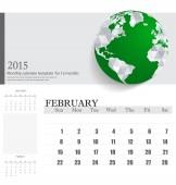 Simple 2015 calendar, February. Vector illustration. — Stock Vector