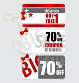 End of year sale savings labels set, price tag, sale coupon, vou — Stock Vector