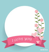 Note paper with ribbon, heart and floral bouquets, vector illust — Stockvektor