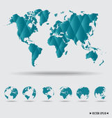 World map and earth globes. Vector illustration. — Stock Vector