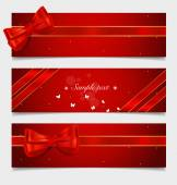 Card note with gift bows and ribbons. Vector illustration. — Stock Vector