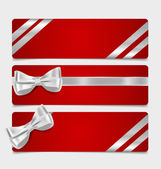 Cards with gift bows and ribbons. Vector illustration. — Stockvektor