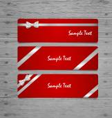 Gift Cards with gift bows and ribbons. Vector illustration. — Stock vektor