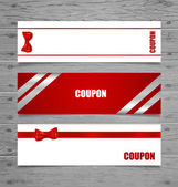Gift Cards with gift bows and ribbons. Vector illustration. — Stock Vector
