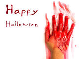 Halloween concept : Hand in blood on a white background — Stock Photo