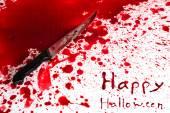 концепция хэллоуин: кровавый нож с брызги крови — Стоковое фото