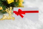 Christmas decoration and gift card with snow — Stock Photo