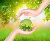 Woman hand hold eco friendly earth — Stock Photo