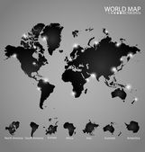 Modern world map with continents atlas (North america, South ame — Stockvector