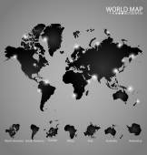 Modern world map with continents atlas (North america, South ame — Vetorial Stock