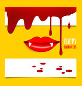 Happy Halloween design background with vampire mouth. Vector ill — Stock Vector