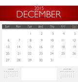 Simple 2015 calendar, December. Vector illustration. — Stock Vector