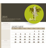 2015 calendar, monthly calendar template for January. Vector ill — Vetorial Stock