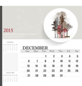 2015 calendar, monthly calendar template for December. Vector il — Stock Vector