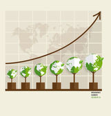 Ecology Infographics design elements. Graph of growing sustainab — Stock Vector