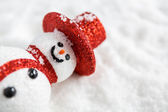 Snowman on snow — Stock Photo
