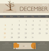 2015 calendar, monthly calendar template for December. Vector il — Stock Vector