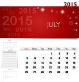 2015 calendar, monthly calendar template for July. Vector illust — Stock Vector