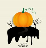 Happy Halloween design background with Halloween pumpkin. Vector — Stock Vector