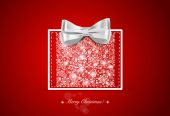 Christmas background with gift box and snowflakes, vector illust — Stock Vector
