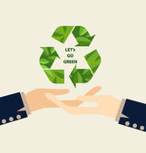 Green Eco Earth, Hand holding Recycle symbol. Vector Illustratio — Stock Vector