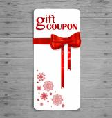 Gift coupon with gift bow and ribbon. Vector illustration. — Vettoriale Stock