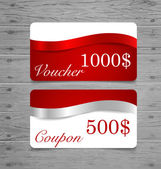 Gift Cards, sale coupon, voucher with red ribbons and silver rib — Stock Vector