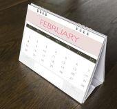 February Calendar  2015 on wood table  — Stock Photo
