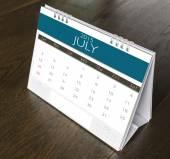 July Calendar  2015 on wood table  — Stock Photo