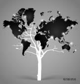 Tree shaped world map. Vector illustration. — Stock Vector