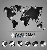 现代世界地图设计、 矢量图. — 图库矢量图片
