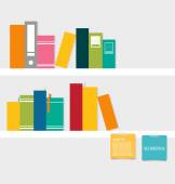 Books on shelf with notepapers. Vector illustration. — Stock Vector