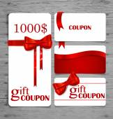 Holiday Gift Coupons with gift bows and ribbons. Vector illustra — Stockvektor