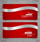 Holiday Gift Coupons with ribbons. Vector illustration. — Stockvektor